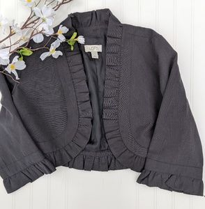 LOFT Black Cropped Ruffled Jacket/Blazer
